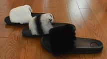 Real fur slides Rex Rabbit fluffy slippers