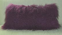 Purple Mongolian lamb fur pillow