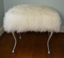 Real Natural White Mongolian Lamb Fur Bench Tibet Lamb Stool Ottoman Aluminum Legs