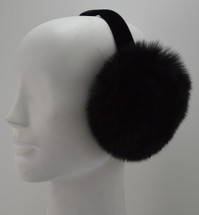 Real black fox earmuffs