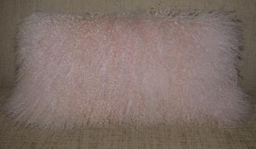 Pink Mongolian fur pillow