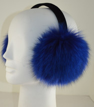 Real Fox Fur Earmuffs Blue