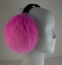 Real Hot Pink Fox Earmuffs