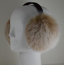 Real Fox fur  earmuffs Blush Snow Top