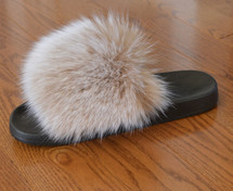 Real Authentic Snow Top Blush Fox Fur Slide Slipper Sandal