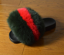 Real Green and Red Fox Fur Slide Sandal Slipper