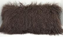 Brown Mongolian lamb fur pillow