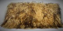 Real Mongolian lamb fur pillow Gold Two Tone