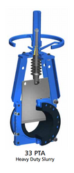 "ITT Fabri-Valve Slurry Knife Gate Valve - 8"" 33PTD NR HW	  8"" SLURRY KGV CS BODY/316 SST GATE, HANDWHEEL, NATURAL RUBBER SEAT"