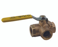 "3-WAY DIVERSION BRONZE BALL VALVE - 1/2"" Part Number: 70-603-01"