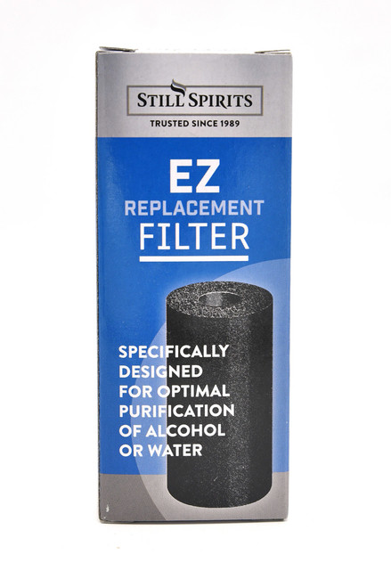 Fast, clean, easy to use. Contains one replacement cartridge for EZ Filter System or EZ Inline Filter, specifically designed for the maximum purification of alcohol or water.  The cartridge eliminates the need to handle powdered or granulated carbon. The cartridge's porous design allows the spirit or water to pass through and the unwanted flavours or chemicals to be absorbed by the activated carbon. It is fast, clean and easy to use. Each cartridge is suitable for one batch of alcohol from a 25L still or 300L of water.