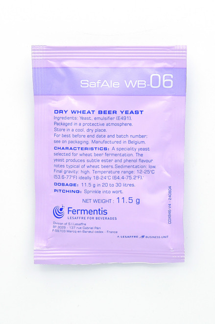 The US release of this highly-anticipated dry yeast selected for wheat beer fermentations. WB-06 produces estery and phenol notes typical of Bavarian-style wheat beers. Flocculation: low Final gravity: high. Optimum temp: 59°-75° F