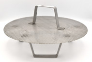 Stainless steel false bottom with legs, fits 8-gallon pots and kettles.  11.6-inch diameter.