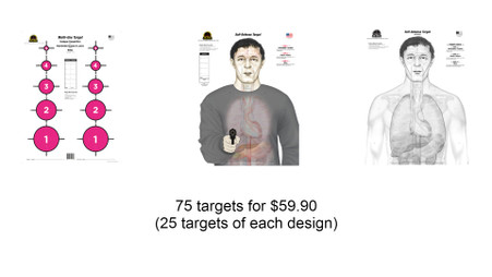 """25 targets of the Multi-Use Competition Target in Fluorescent Pink 25 targets of the Self-Defense """"Armed Threat"""" Target 25 targets of the Self-Defense """"Anatomy"""" Target in Black and White"""