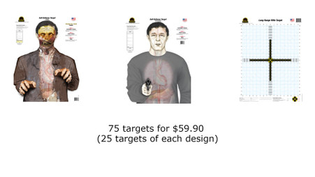 """25 targets of the Self-Defense """"Zombie"""" Target 25 targets of the Self-Defense """"Armed Threat"""" Target 25 targets of the Long Range Rifle Target"""