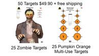 50 Targets- 25 Zombie Targets, 25 Multi-Use Pumpkin Orange Targets Free Shipping!