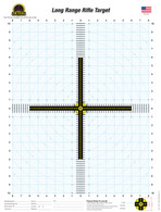 "The Long Range Rifle Target design began as hand drafted targets that were reproduced on a home printer.  This eventually progressed into the intricate sighting system it is today.  The design is intended to allow the shooter to match up their crosshair reticle with the crosshair on the target to create a singular visual crosshair impression. Behind the 1/2"" thick crosshair is a light unobtrusive draftsman's graph. This 16"" wide X 20"" tall graph consists of measurements from 1"" to 1/8"" throughout. This graph assists in determining exact shot placements from the center of the target allowing for easy and precise scope adjustments."