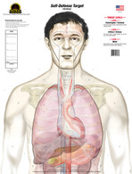 "The ""Anatomy"" (Self-Defense Anatomy Target) design replaces the standard human silhouette target with an anatomically accurate torso featuring true to size organs and vital areas of a smaller human male. This target is divided into three ""SCORING LEVELS"" which consist of the following: LEVEL 1- Catastrophic/Terminal, LEVEL 2- Critical/Serious, and LEVEL 3- Minor.  Shots placed on this target give the shooter a realistic idea of what effects their shots would have on an actual human. See our Concepts & Design page for a detailed description of these major differences from traditional targets."