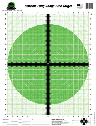 "The Extreme Long Range Rifle Target has been enhanced with fluorescent color for high visibility at extreme ranges. This unique design allows the shooter to match up their crosshair reticle with the crosshair on the target to create a singular visual crosshair impression. Behind the 1/2"" thick crosshair is an unobtrusive draftsman's graph. This 16"" wide X 20"" tall graph consists of measurements from 1"" down to 1/8"" throughout."