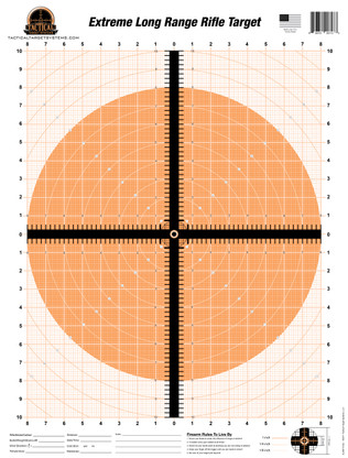 "The Extreme Long Range Rifle Target has been enhanced with fluorescent color for high visibility at extreme ranges. This unique design allows the shooter to match up their crosshair reticle with the crosshair on the target to create a singular visual crosshair impression. Behind the 1/2"" thick crosshair is an unobtrusive draftsman's graph. This 16"" wide X 20"" tall graph consists of measurements from 1"" down to 1/8"" throughout"
