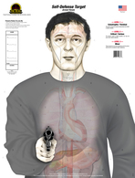 "The ""Armed Threat"" (Self-Defense Target) design replaces the standard human silhouette target with an anatomically accurate torso holding a handgun. It features true to size organs and vital areas of a smaller human male. This target is divided into three ""SCORING LEVELS"" which consist of the following: LEVEL 1- Catastrophic/Terminal, LEVEL 2- Critical/Serious, and LEVEL 3- Minor.  Shots placed on this target give the shooter a realistic idea of what effects their shots would have on an actual human.  The organs and vitals are faint at distance which creates a more realistic view of an adversary down range, because real bad guys don't come with bulls-eyes!"