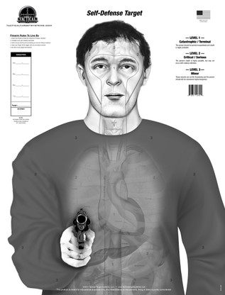 """The """"Armed Threat"""" (Self-Defense Target) design replaces the standard human silhouette target with an anatomically accurate torso featuring true to size organs and vital areas of a smaller human male. This target is divided into three """"SCORING LEVELS"""" which consist of the following: LEVEL 1- Catastrophic/Terminal, LEVEL 2- Critical/Serious, and LEVEL 3- Minor.  Shots placed on this target give the shooter a realistic idea of what effects their shots would have on an actual human. The organs and vitals are faint at distance which creates a more realistic view of an adversary down range, because real bad guys don't come with bulls-eyes!"""