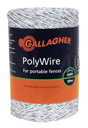 Gallagher Poly Wire White 656ft for Short Distances
