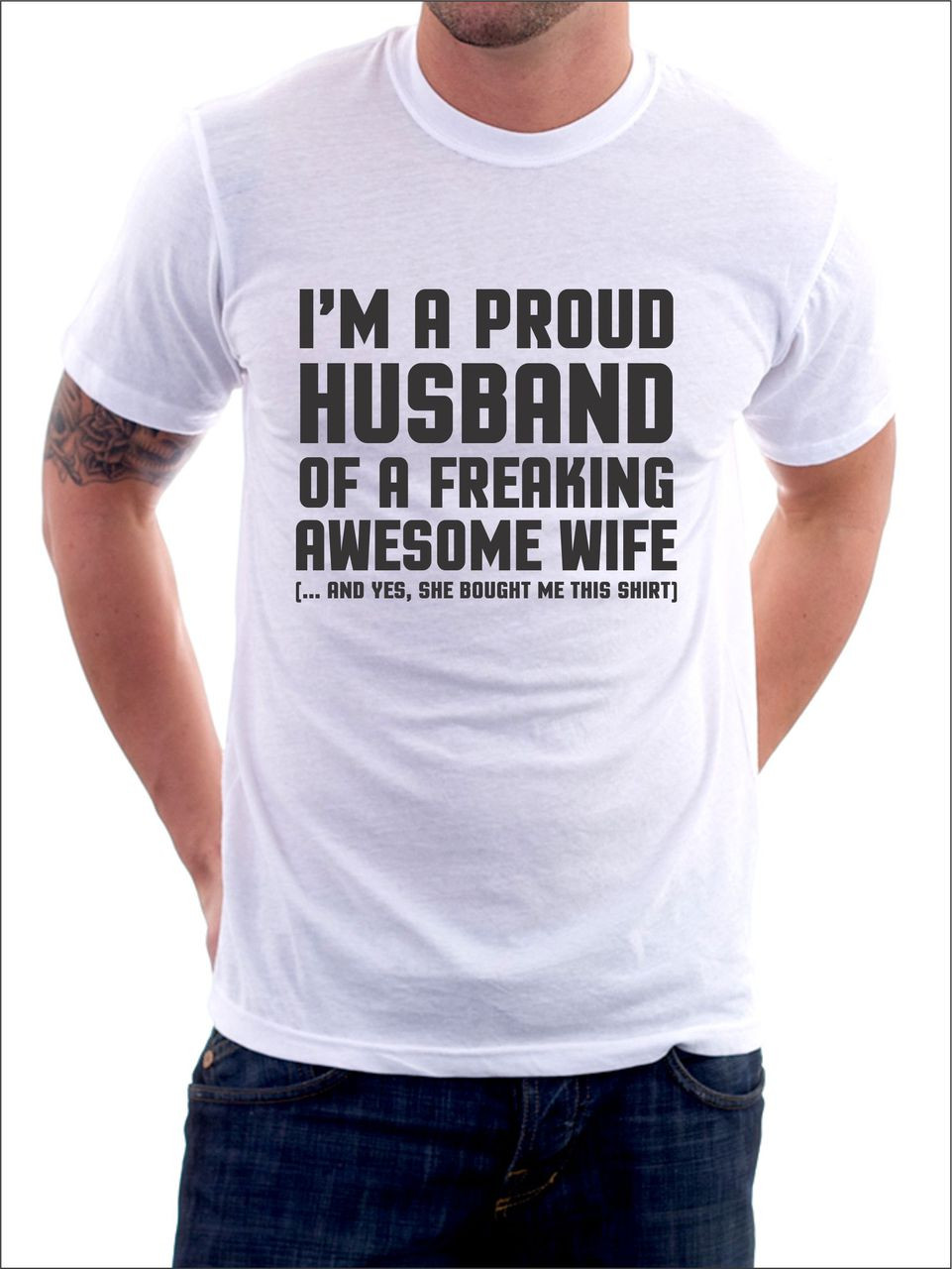 e3523f1d I'm a proud husband of a freaking awesome wife T-Shirt. Loading zoom