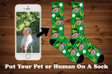 St. Patricks Day Photo Socks, Pet socks, Four leaf clover, Lucky charm, photo dog socks, Dog And Cat Photo Socks, Your Dog On A Sock