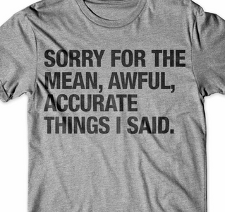 Sorry for the mean, awful, accurate things I said T-Shirt