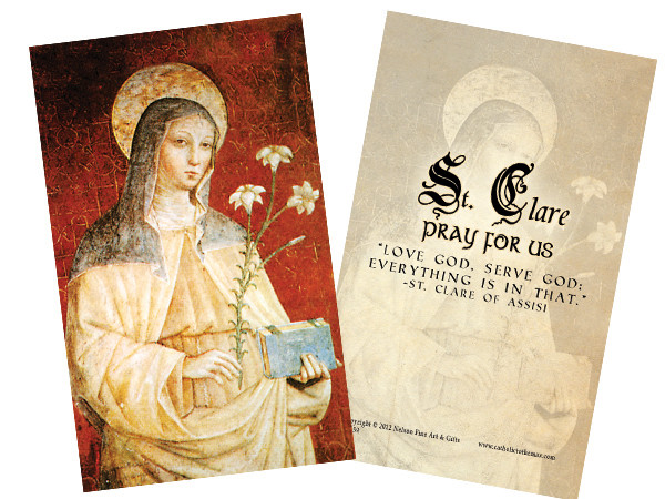 St  Clare Holy Card