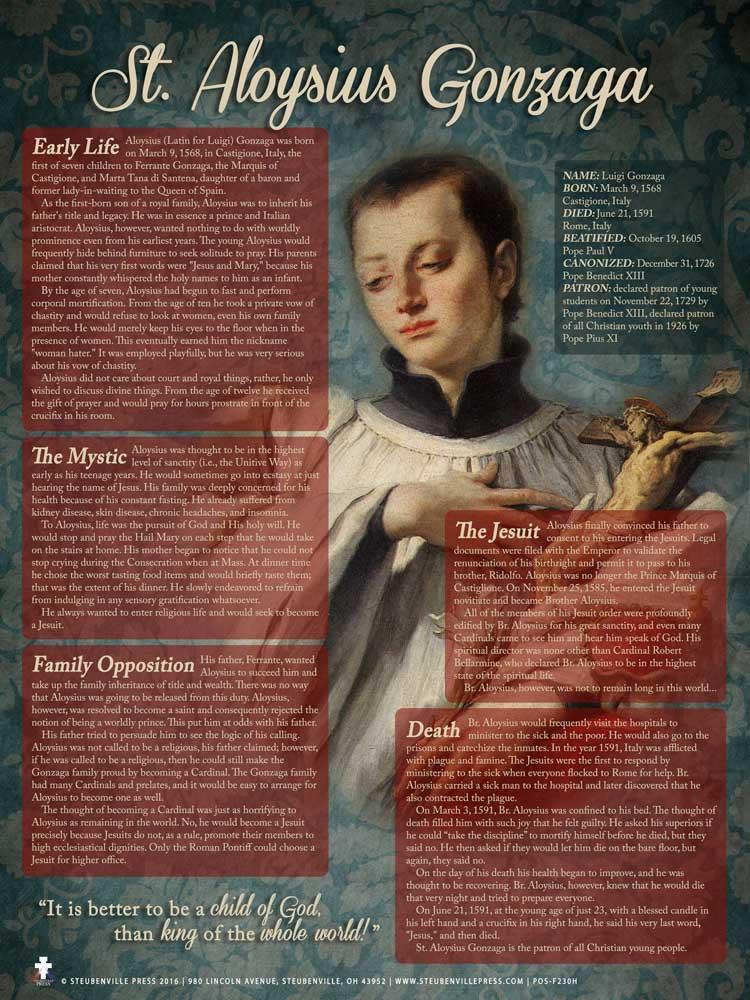 St Aloysius Gonzaga Explained Poster