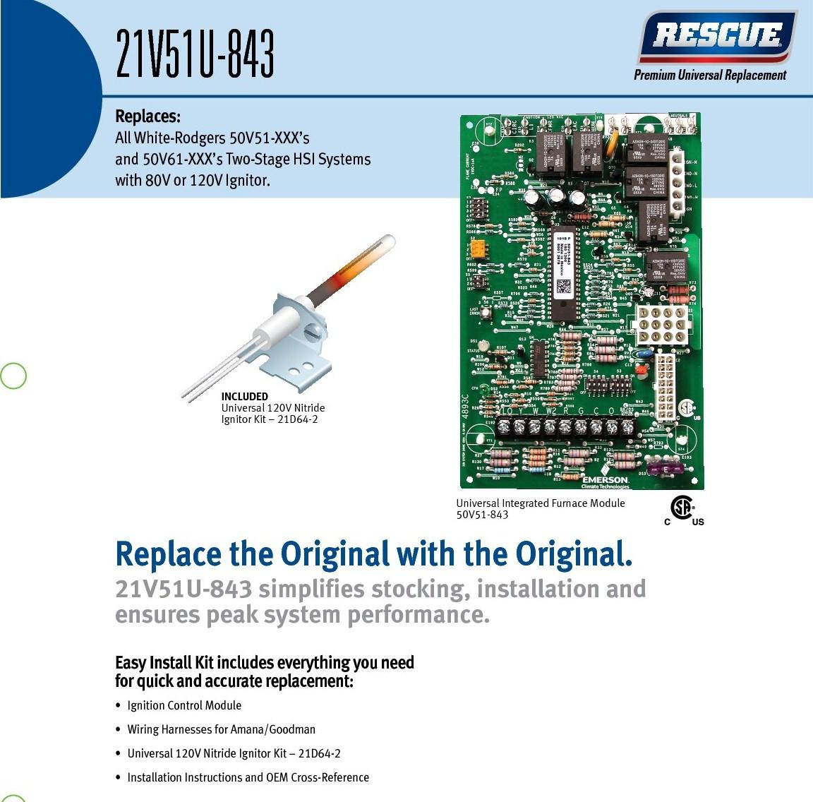 White Rodgers Furnace Control Kit 21v51u 843 Wiring Harness Image 1