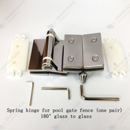 Spring hinge for pool fence gate (one pair) - 180° glass to glass