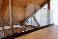 channel frameless glass balustrade with flat rail