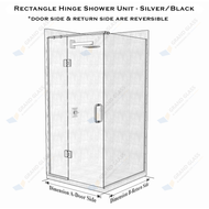 Rectangle Hinge Shower Unit - Chrome/Black