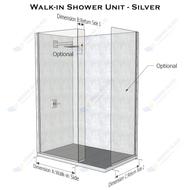 Walk-in Shower Unit - Chrome/Black