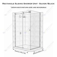Rectangle Sliding Shower Unit - Chrome/Black