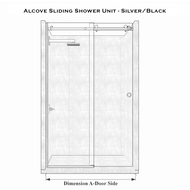 Alcove Sliding Shower Unit - Chrome/Black
