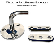 Wall to rail bracket for 50.8mm round offset rail system
