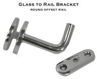 Glass to Rail bracket for 38.1mm round offset rail system