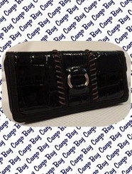 BLACK KATE LANDRY MOCK CROC WALLET with FREE SHIPPING