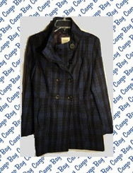 BLUE PLAID WOOL PEA COAT MISSES MEDIUM  with FREE SHIPPING