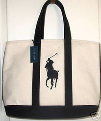RALPH LAUREN PONY LOGO CANVAS TOTE BAG with FREE SHIPPING