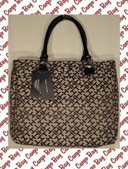 TOMMY HILFIGER TAN WITH BLACK LOGO FABRIC TOTE with FREE SHIPPING