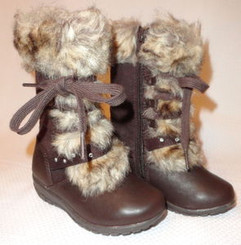 Girls Winter Snow Boots Size 8 Dark Brown with Free Shipping