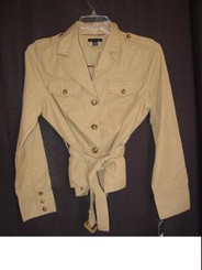 Tommy Hilfiger Khaki Cropped Trench Coat Misses Large
