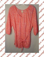 Peach Floral Shirt Womens 1x with Free Shipping