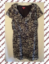 Black & Gray Print Plus Size 1x Ruffle Front Dress with Free Shipping