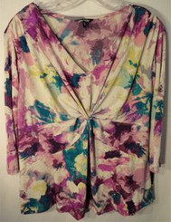 Daisy Fuentes Purple Floral Knot Front Top Plus Size 1x or 2x with Free Shipping